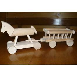 Dřevěný koník s vozem