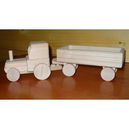 Dřevěný traktor s vlekem